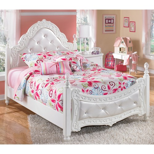 Signature Design by Ashley Lil' Darling Full Ornate Poster Bed with Tufted Headboard & Footboard