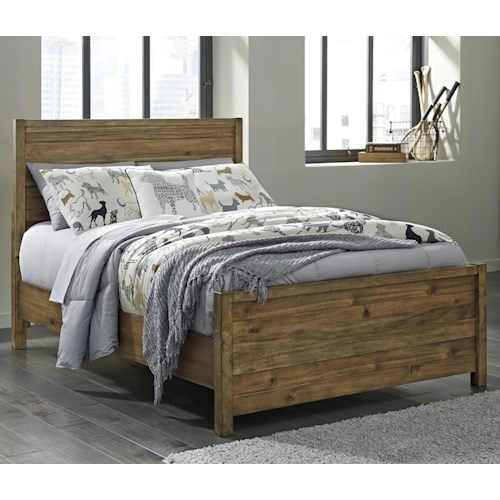 Signature Design by Ashley Fennison Twin Panel Bed with Acacia Veneer