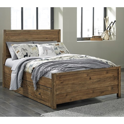 Signature Design by Ashley Fennison Twin Panel Bed with 2 Side Storage Drawers