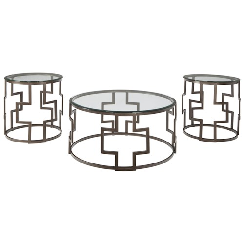 Signature Design by Ashley Frostine Contemporary Bronze Tone Metal Drum Style Occasional Table Set with Glass Tops