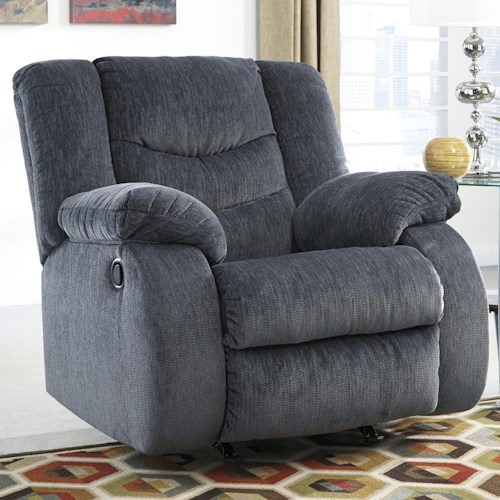 Signature Design by Ashley Garek - Blue Casual Rocker Recliner with Pillow Arms