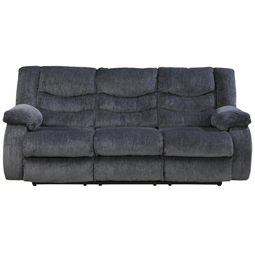 Signature Design by Ashley Garek - Blue Casual 3 Seat Reclining Sofa with Pillow Arms