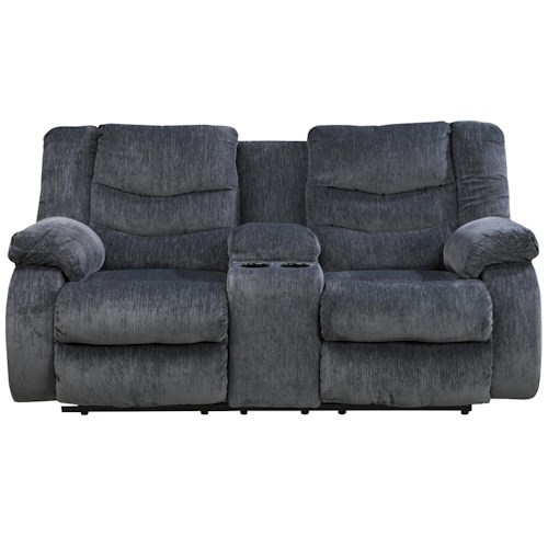 Signature Design by Ashley Garek - Blue Casual Double Reclining Loveseat w/ Console