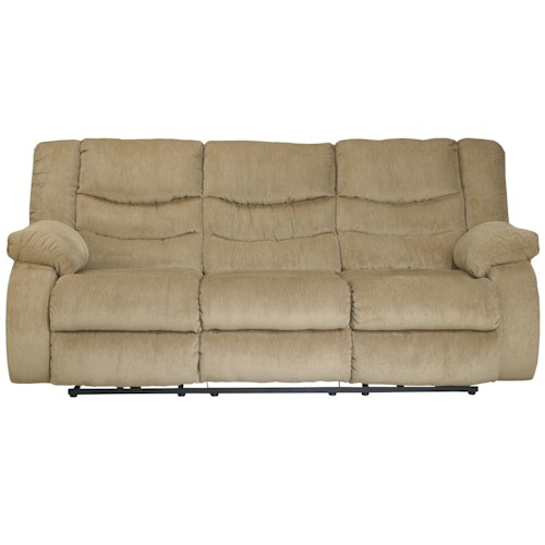 Signature Design by Ashley Garek - Sand Casual 3 Seat Reclining Sofa with Pillow Arms
