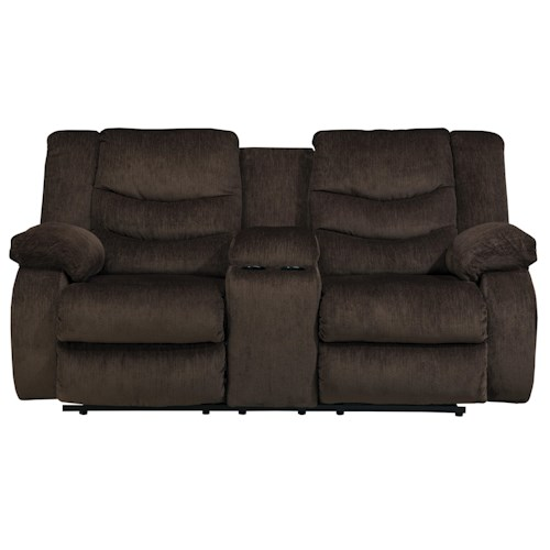 Signature Design by Ashley Garek - Cocoa Casual Double Reclining Loveseat w/ Console