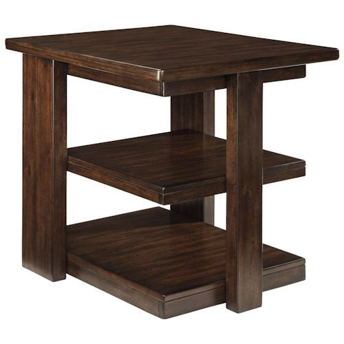 Signature Design by Ashley Garletti Contemporary Rectangular End Table with 2 Cantilever Shelves
