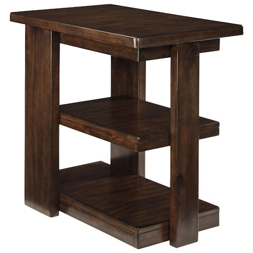 Signature Design by Ashley Garletti Contemporary Chair Side End Table with 2 Cantilever Shelves