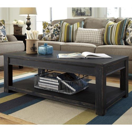 Signature Design by Ashley Gavelston Distressed Black Rectangular Cocktail Table with Shelf
