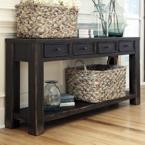 Signature Design by Ashley Gavelston Distressed Black Sofa Table with 4 Drawers & Shelf