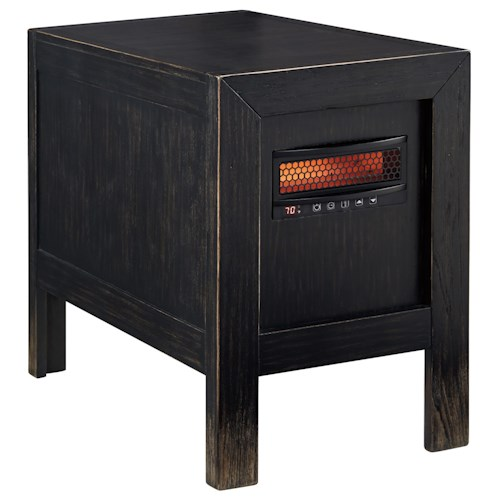 Signature Design by Ashley Gavelston Rustic Distressed Black Chair Side End Table w/ Heater