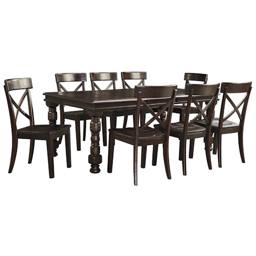 Signature Design by Ashley Gerlane 9-Piece Solid Pine Dining Table Set