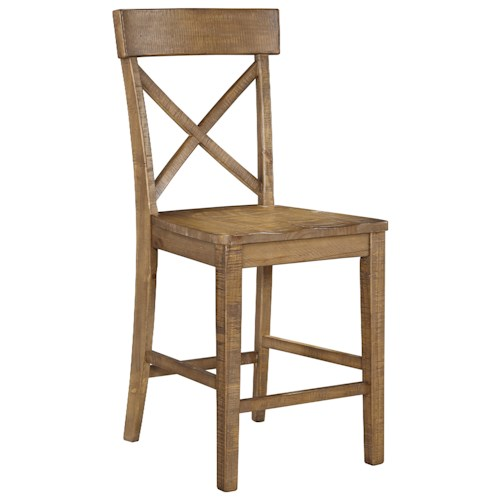 Signature Design by Ashley Trishley Solid Pine Wood Barstool
