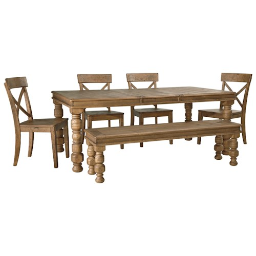 Signature Design by Ashley Trishley 6-Piece Solid Pine Dining Table Set with Bench