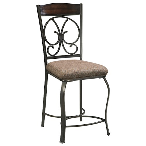 Signature Design by Ashley Glambrey Upholstered Barstool with Metal Accents