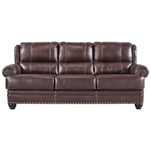Signature Design by Ashley Glengary Wing Back Leather Match Sofa with Coil Seat Cushions