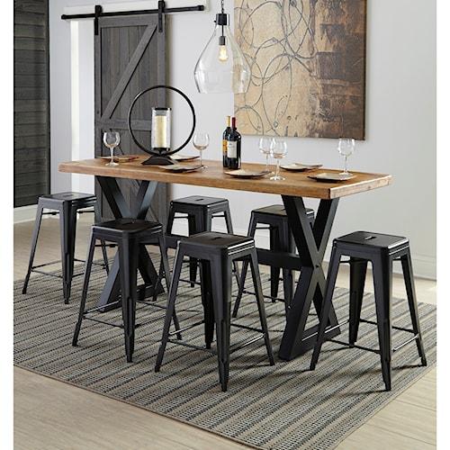 Signature Design by Ashley Glosco 7-Piece Rectangular Counter Table Set