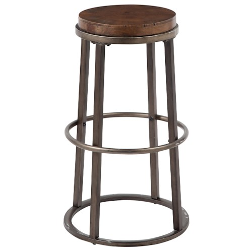 Signature Design by Ashley Glosco Modern Tall Stool with Glazed Brown Metal Base & Growth Ring Wood Seat