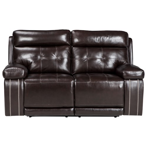 Signature Design by Ashley Graford Leather Match Power Reclining Loveseat w/ Adjustable Headrest