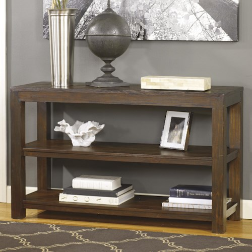 Signature Design by Ashley Grinlyn Rustic Pine Sofa Table with 2 Shelves