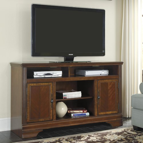 Signature Design by Ashley Hamlyn Large TV Stand with Cherry Veneer & Prima Vera Inlay