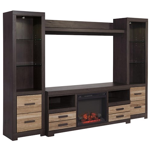 Signature Design by Ashley Harlinton Large TV Stand with Fireplace Insert & 2 Tall Piers with Bridge