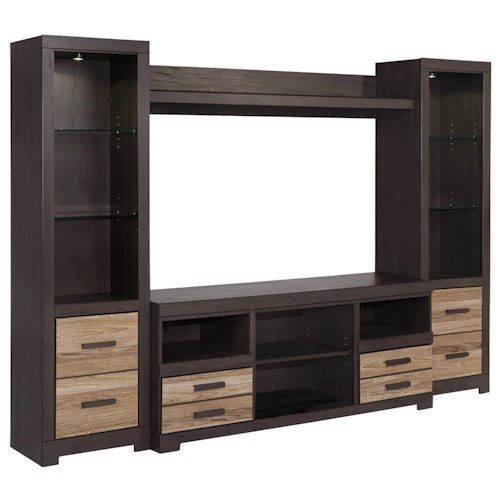 Signature Design by Ashley Harlinton Large TV Stand & 2 Tall Piers with Bridge