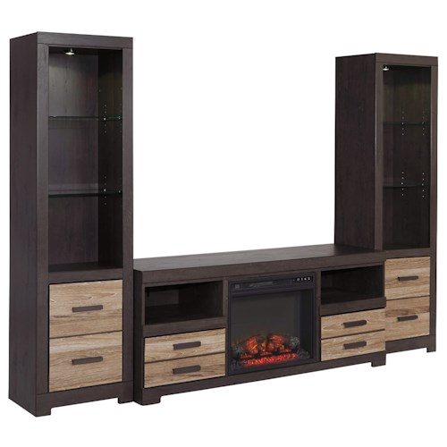 Signature Design by Ashley Harlinton Large TV Stand with Fireplace Insert & 2 Tall Piers