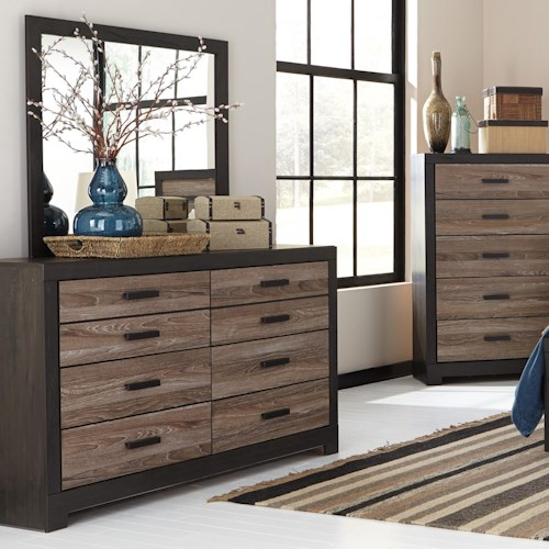 Signature Design by Ashley Harlinton Rustic Two-Tone Dresser & Bedroom Mirror