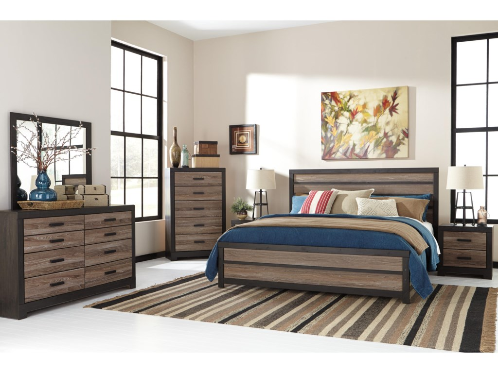 Ashley rustic bedroom furniture - Signature Design By Ashley Harlinton Rustic Two Tone Dresser Bedroom Mirror Furniture And Appliancemart Dresser Mirror Sets