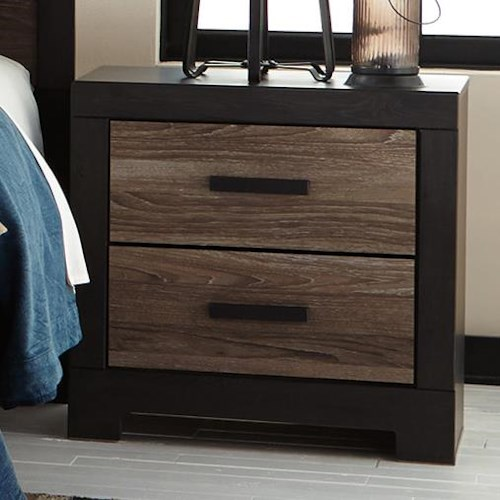 Signature Design by Ashley Harlinton Rustic Two Drawer Night Stand with USB Charger