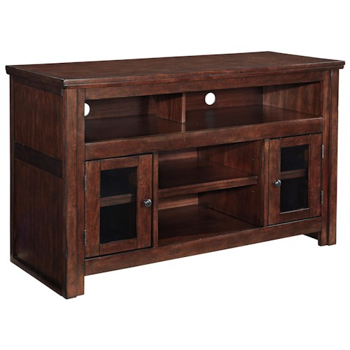Signature Design by Ashley Harpan Mango Veneer Medium TV Stand with Glass Doors