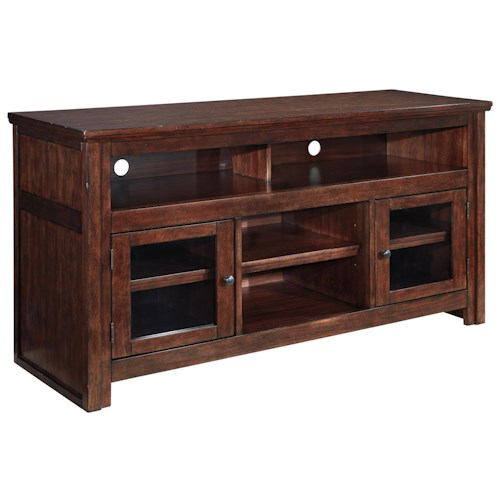 Signature Design by Ashley Harpan Mango Veneer Large TV Stand with Glass Doors