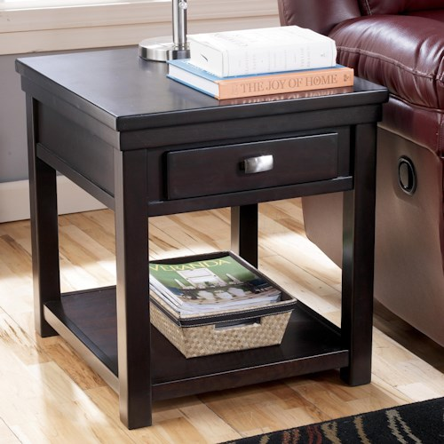 Signature Design by Ashley Hadley Rectangular End Table with 1 Drawer & 1 Shelf