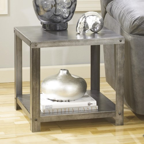 Signature Design by Ashley Hattney Square Industrial Metal End Table