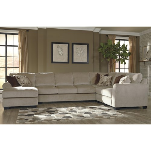 Benchcraft Hazes 4-Piece Sectional w/ Armless Sofa & Left Chaise
