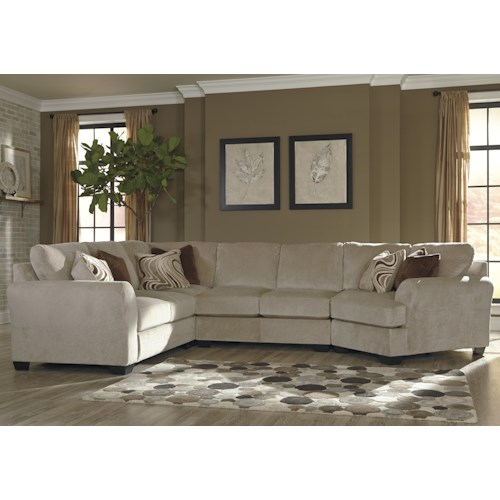 Benchcraft Hazes 4-Piece Sectional w/ Right Cuddler