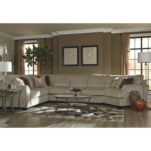 Benchcraft Hazes 4-Piece Sectional w/ Armless Sofa & Right Cuddler