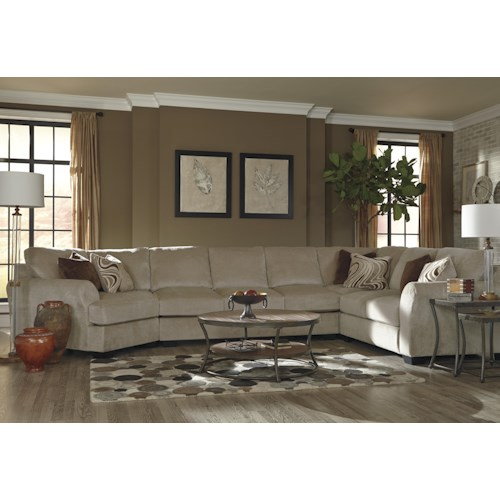 Ashley/Benchcraft Hazes 4-Piece Sectional w/ Armless Sofa & Left Cuddler