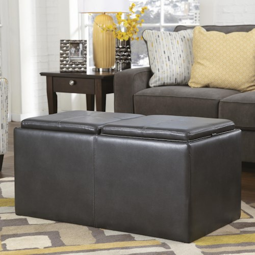 Signature Design by Ashley Hodan Flip Top Ottoman With Storage & 2 Cubes Inside