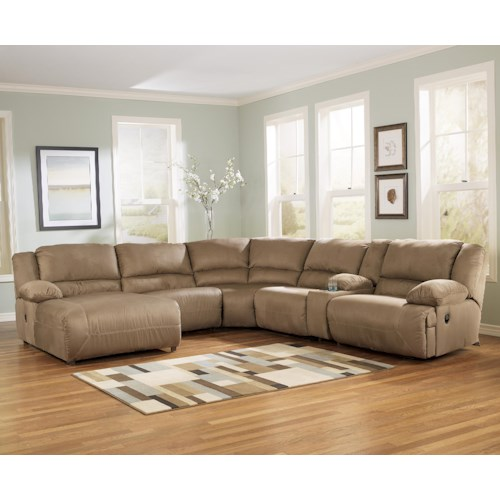 Signature Design by Ashley Hogan - Mocha 6 Piece Motion Sectional with Left Chaise and Console