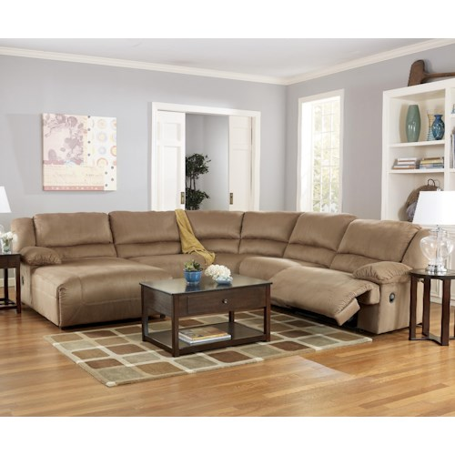 Signature Design by Ashley Hogan - Mocha 5 Piece Motion Sectional with Left Chaise