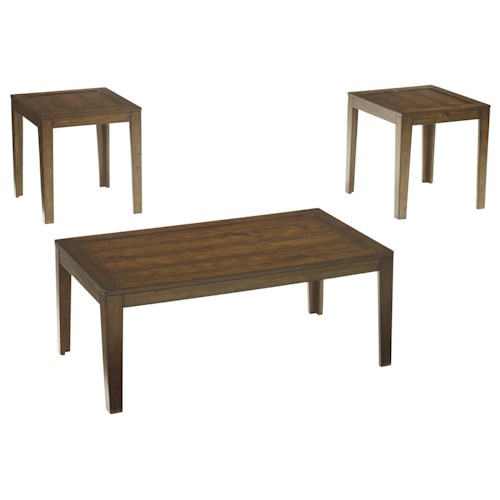 Signature Design by Ashley Hollytyne 3-Piece Occasional Table Set with Plank Style Table Tops