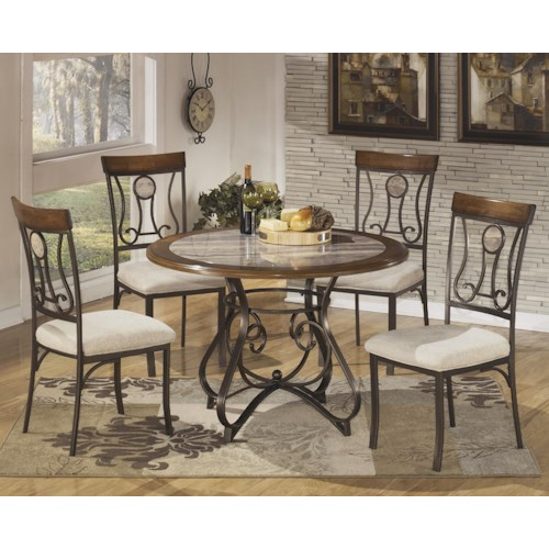 Signature Design by Ashley Hopstand 5-Piece Round Dining Table Set with Steel Frame & Faux Marble Table Top