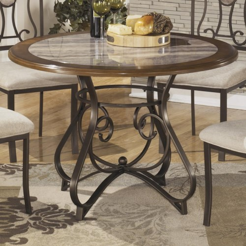 Signature Design by Ashley Hopstand Round Dining Room Table with Steel Base & Faux Marble Top