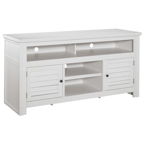 Signature Design by Ashley Idonburg Painted Large TV Stand with Louver Doors