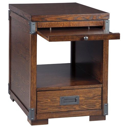 Signature Design by Ashley Jakeley Campaign Style Square End Table with Pull-Out Tray