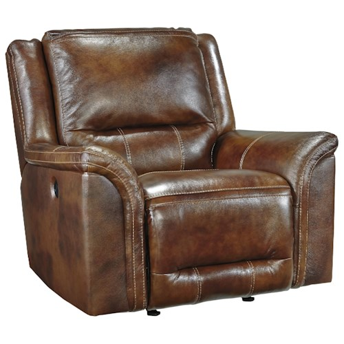 Signature Design by Ashley Jayron Contemporary Leather Match Rocker Recliner
