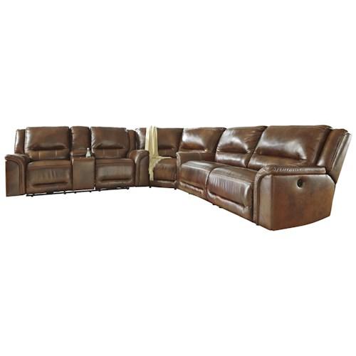 Signature Design by Ashley Jayron Contemporary Leather Match Reclining Sectional with Wedge