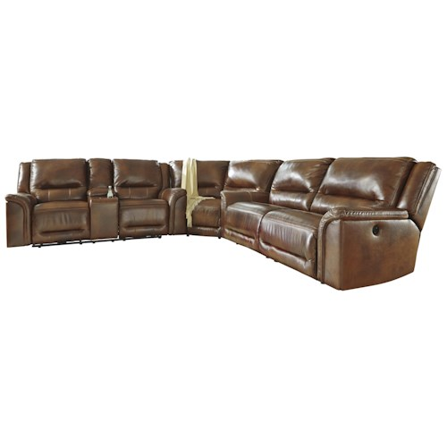 Signature Design by Ashley Jayron Contemporary Leather Match Reclining Power Sectional with Wedge