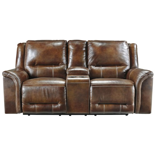 Signature Design by Ashley Jayron Double Contemporary Leather Match Reclining Power Loveseat w/ Console